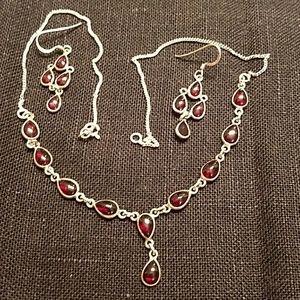 Jewelry - 925 Sterling Silver garnet necklace w/earrings